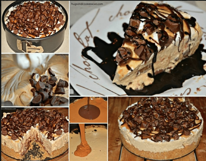 No-Bake Hot Fudge Rolo Cheesecake