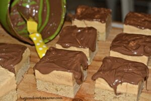Banana Brownies With Peanut Butter Frosting & Chocolate