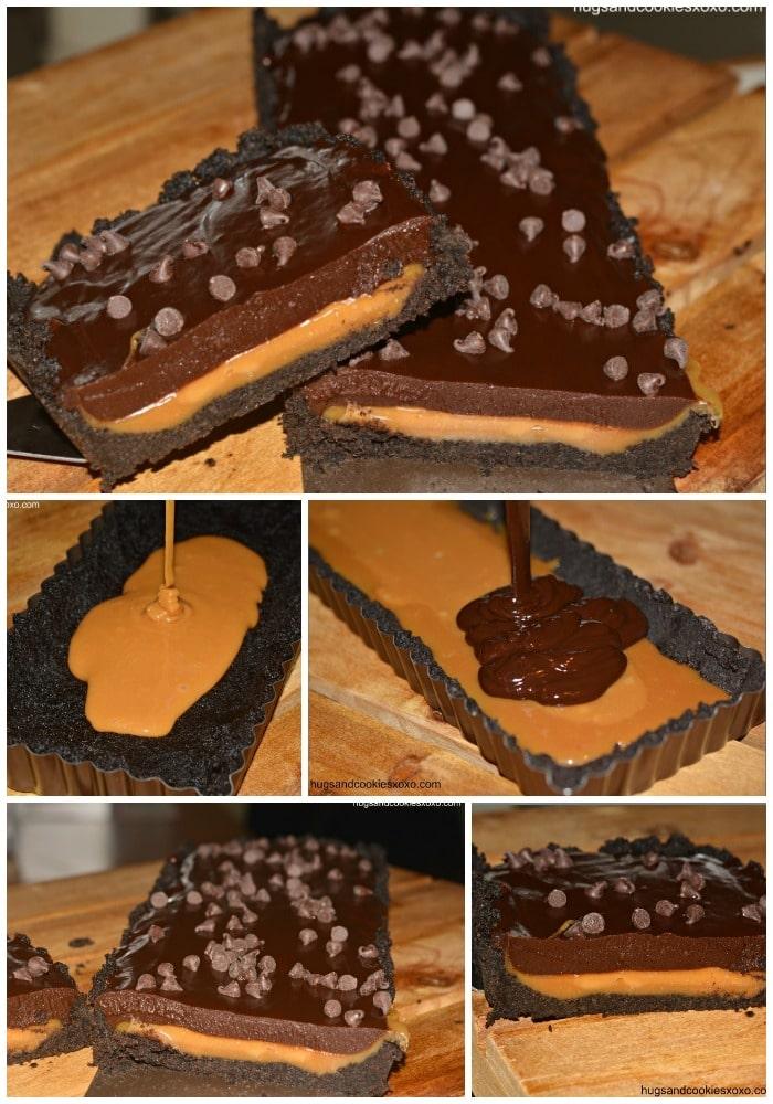 caramel chocolate oreo tart