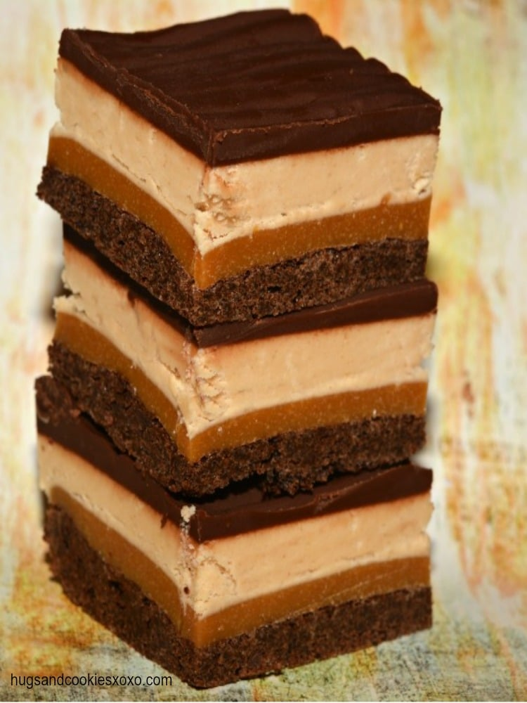 peanut butter and caramel layered brownies