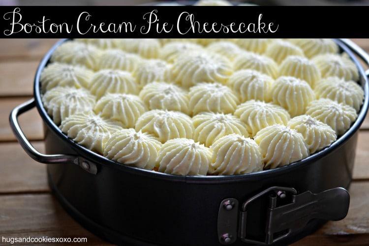 boston cream pie cheesecake in pan