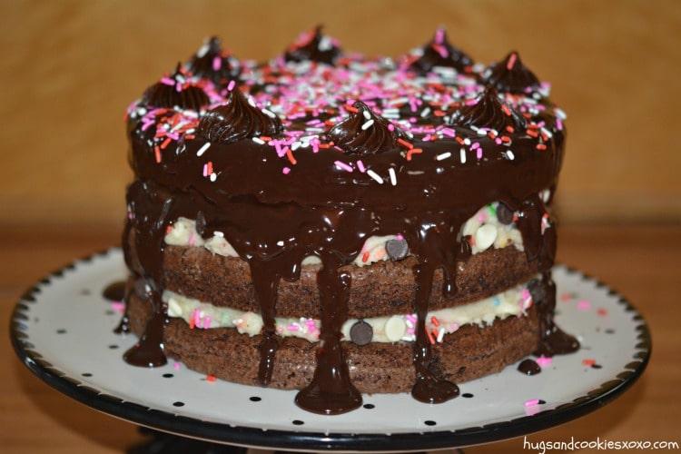cake batter ganache sprinkled cake