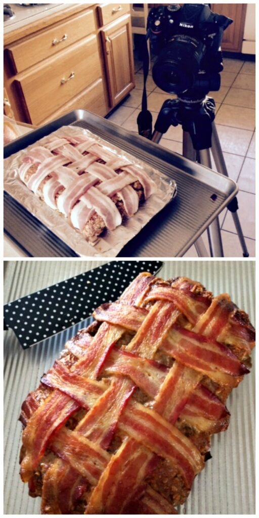 bacon wrapped meatloaf collage