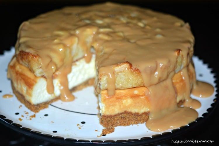 apple pie cheesecake with carmel