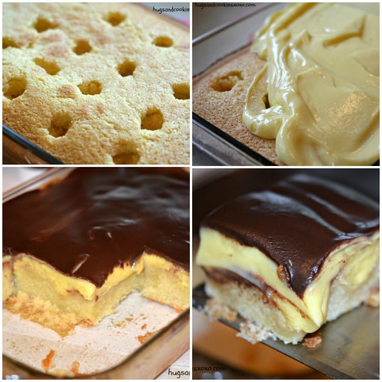 boston cream pie poke cake collage