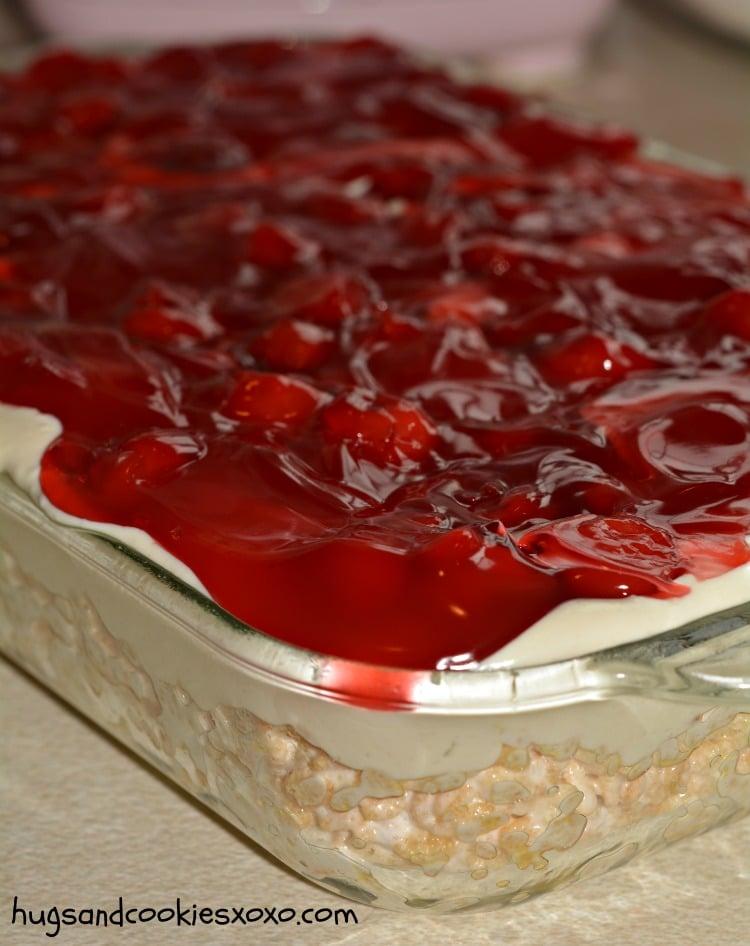 cherry krispies cheesecake