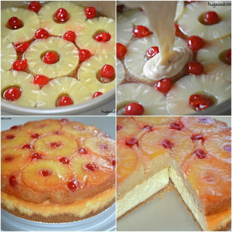 pineapple upside down cheesecake baked