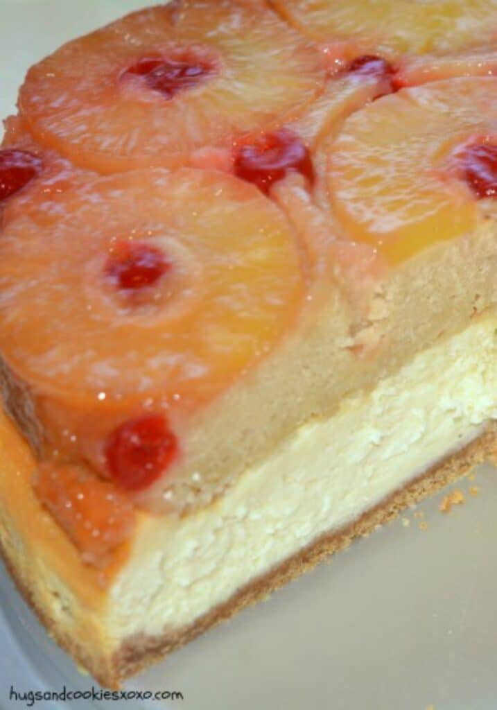 pineapple upside down cheesecake slice
