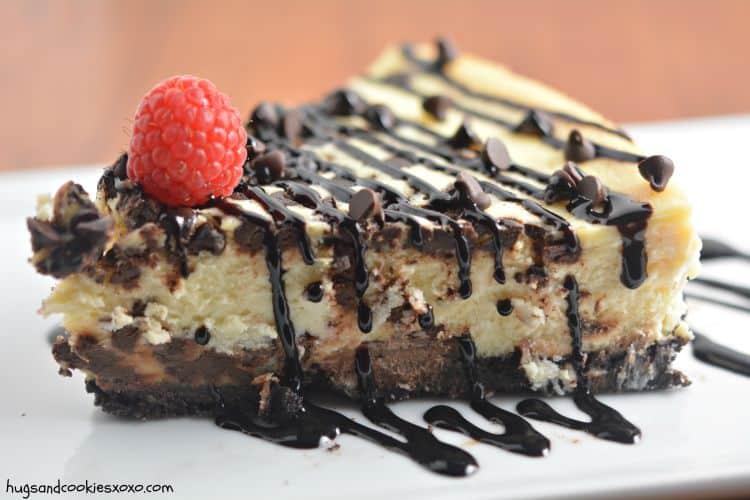 Secret Ingredient Chocolate Chip Cheesecake - Hugs and Cookies XOXO
