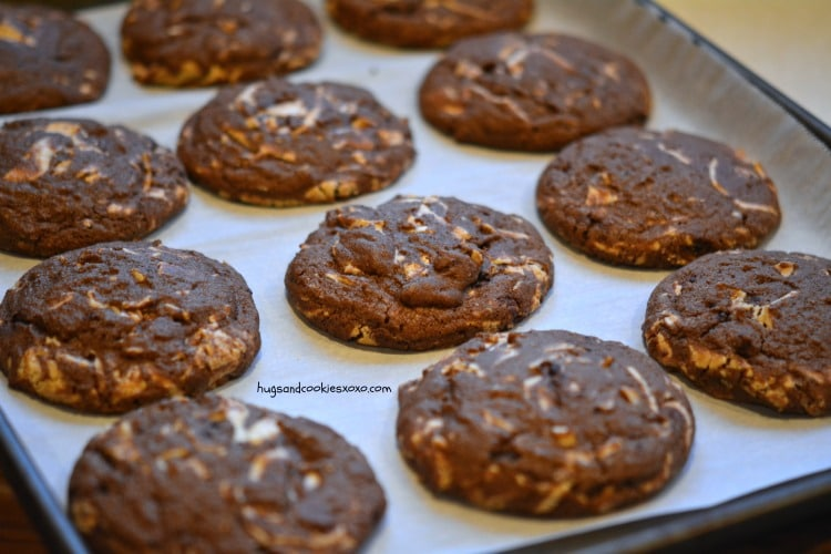 chocolate caramelized white chocolate cookies