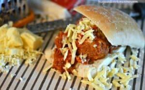 Crockpot Meatball Parm Sandwiches