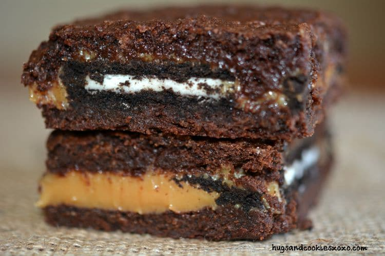 oreo caramel brownies