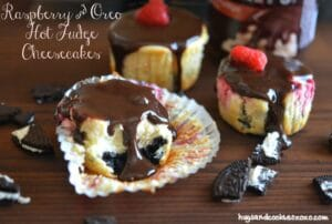 Raspberry and Oreo Hot Fudge Cheesecakes