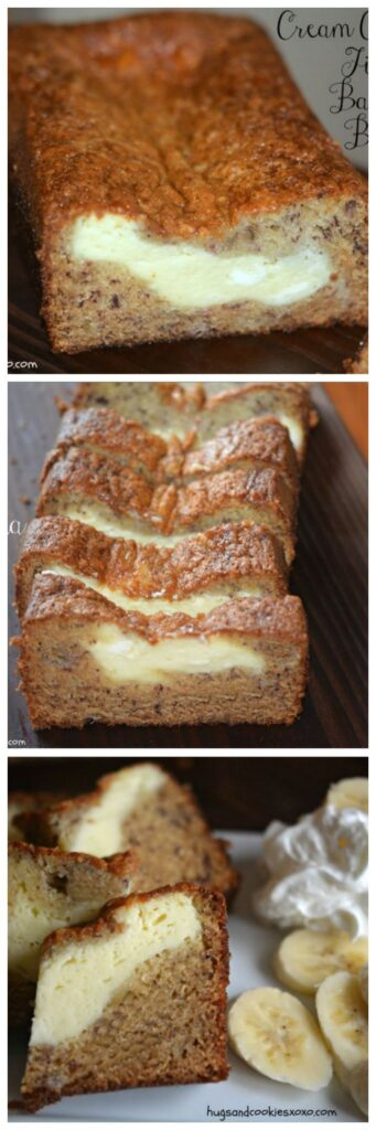 cream cheese filled banana bread snack