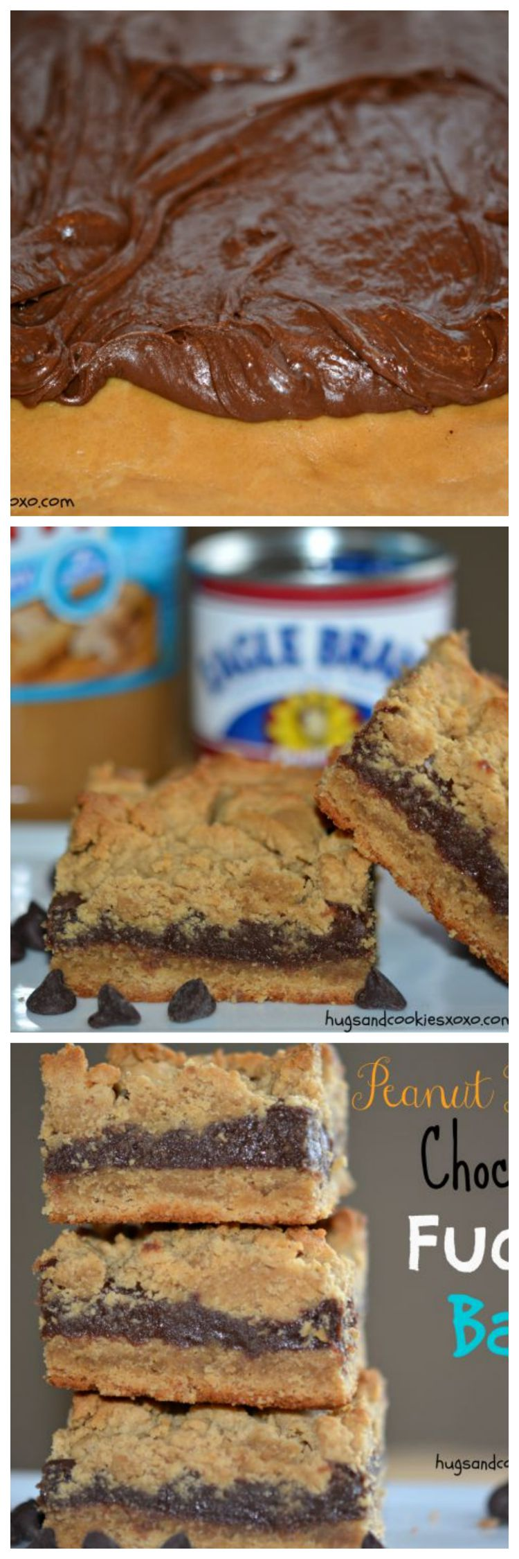 Peanut Butter Fudge Filled Bars Hugs And Cookies Xoxo