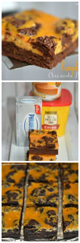 pumpkin cheesecake brownies marbled