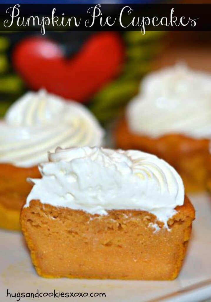 Pumpkin Pie Cupcakes With Cream Cheese Whipped Cream - Hugs and ...