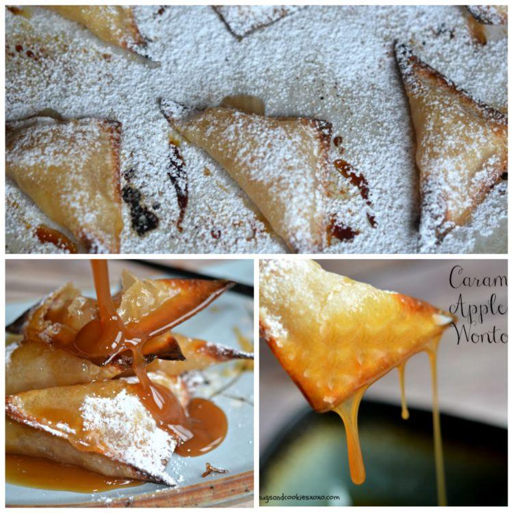 caramel apple pie wontons