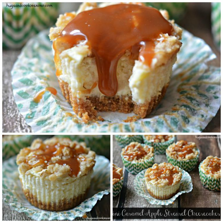 caramel apple streusel cheesecakes