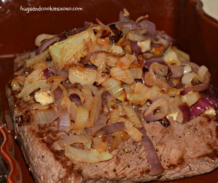 Slow Cooker Garlic Brisket and Onions - Hugs and Cookies XOXO