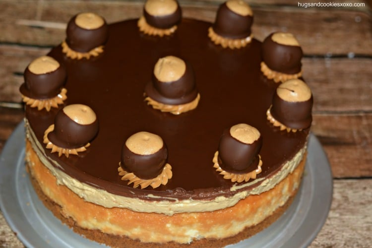 buckeye cheesecake with buckeye candies