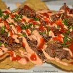 Crockpot Beef Nachos and Sriracha Sauce