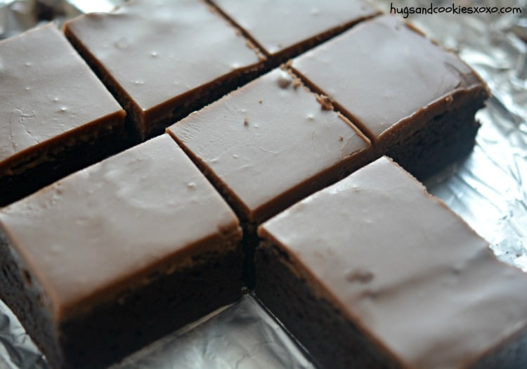 brownies frosted chocolatey