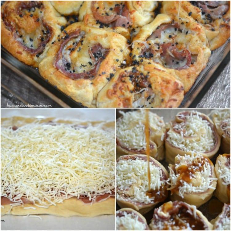 prosciutto cheese rolls collage