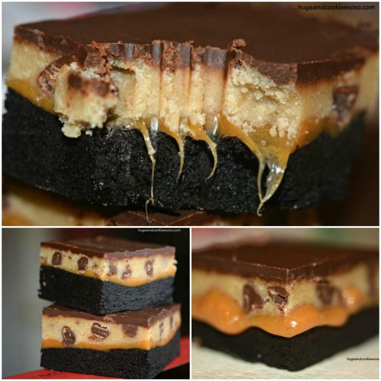 cookie dough brownie bars caramel dark chocolate