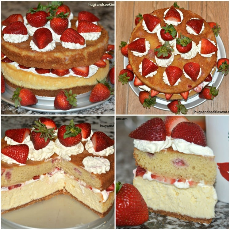 strawberry shortcake cheesecake collage