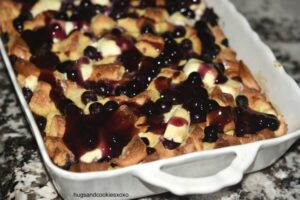 Blueberry Cream Cheese Overnight Brioche French Toast Casserole