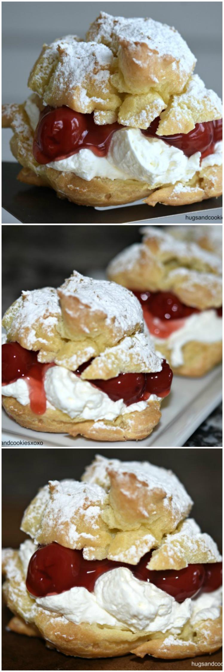 Cream Puffs with Cherries and Mascarpone Whipped Cream