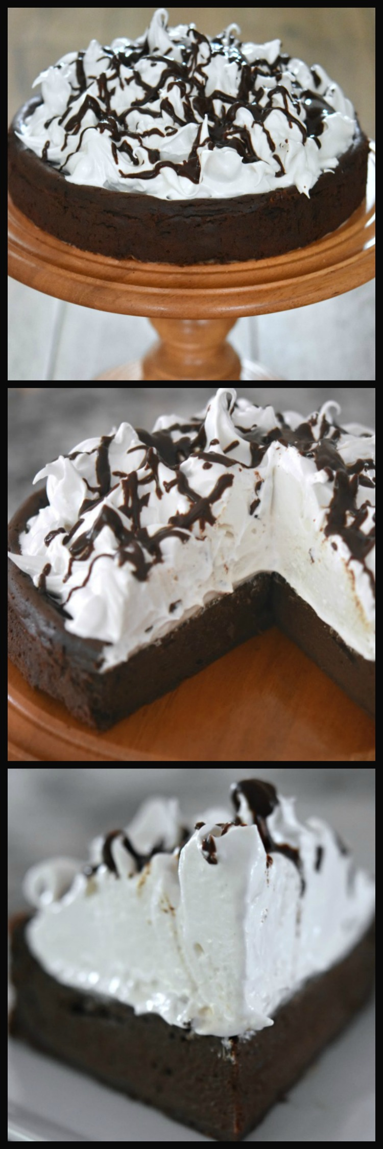 Flourless Chocolate Cake with Marshmallow Frosting