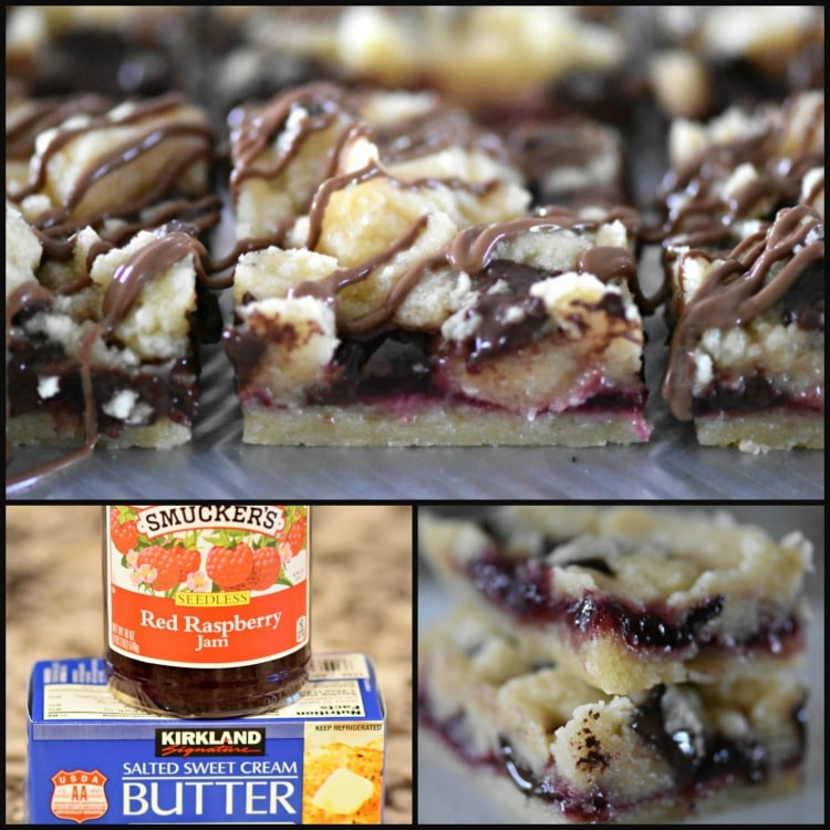 Raspberry Butter Bars with Dark Chocolate Chunks