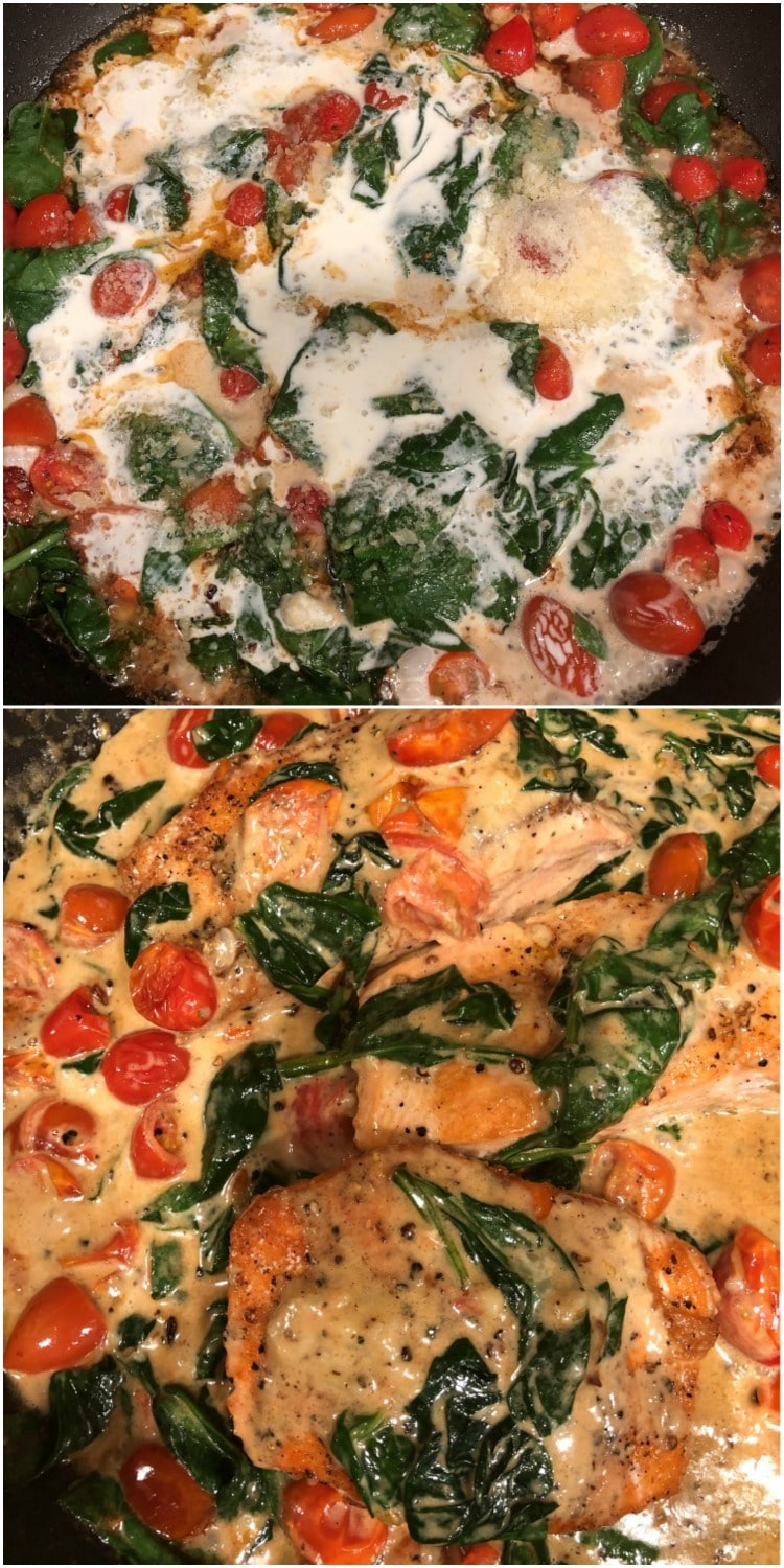 Tuscan Butter Salmon in Tomato Spinach Cream Sauce