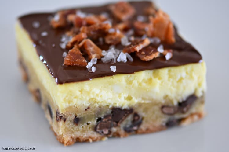 Bacon Sea Salt Cheesecake Bars With Chocolate Chip Cookie Crust