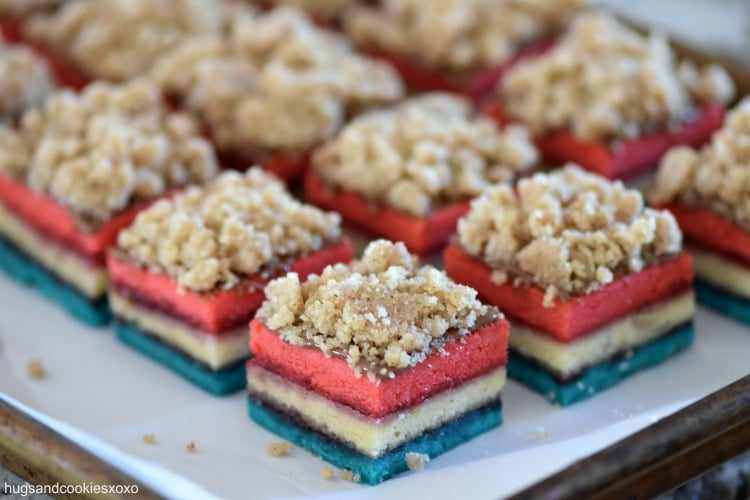 July 4th Rainbow Crumb Cake Cookies