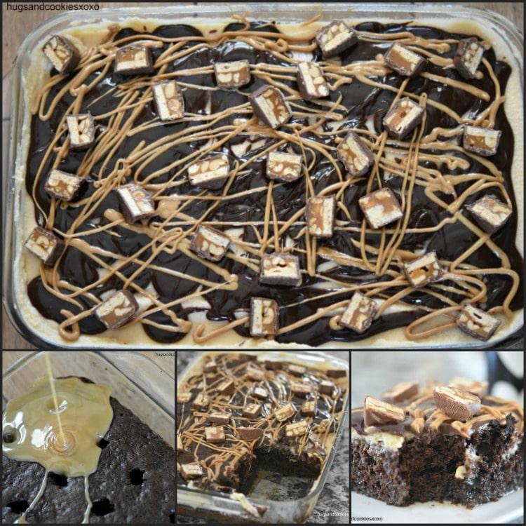 Snickers Caramel Poke Cake