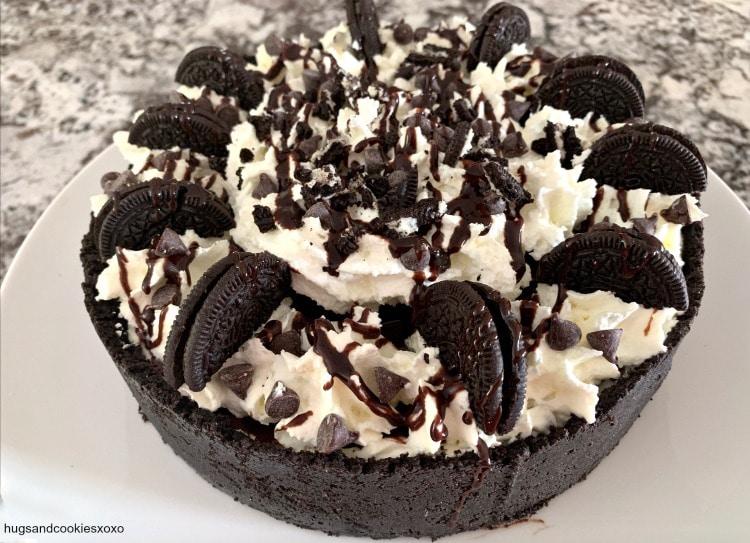 No Bake Chocolate Chip Oreo Ganache Cheesecake