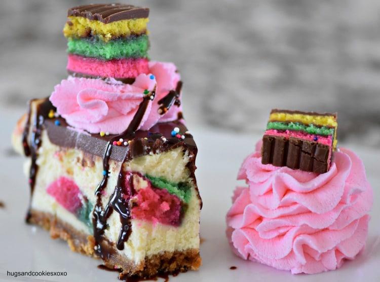 Rainbow Cookie Cheesecake
