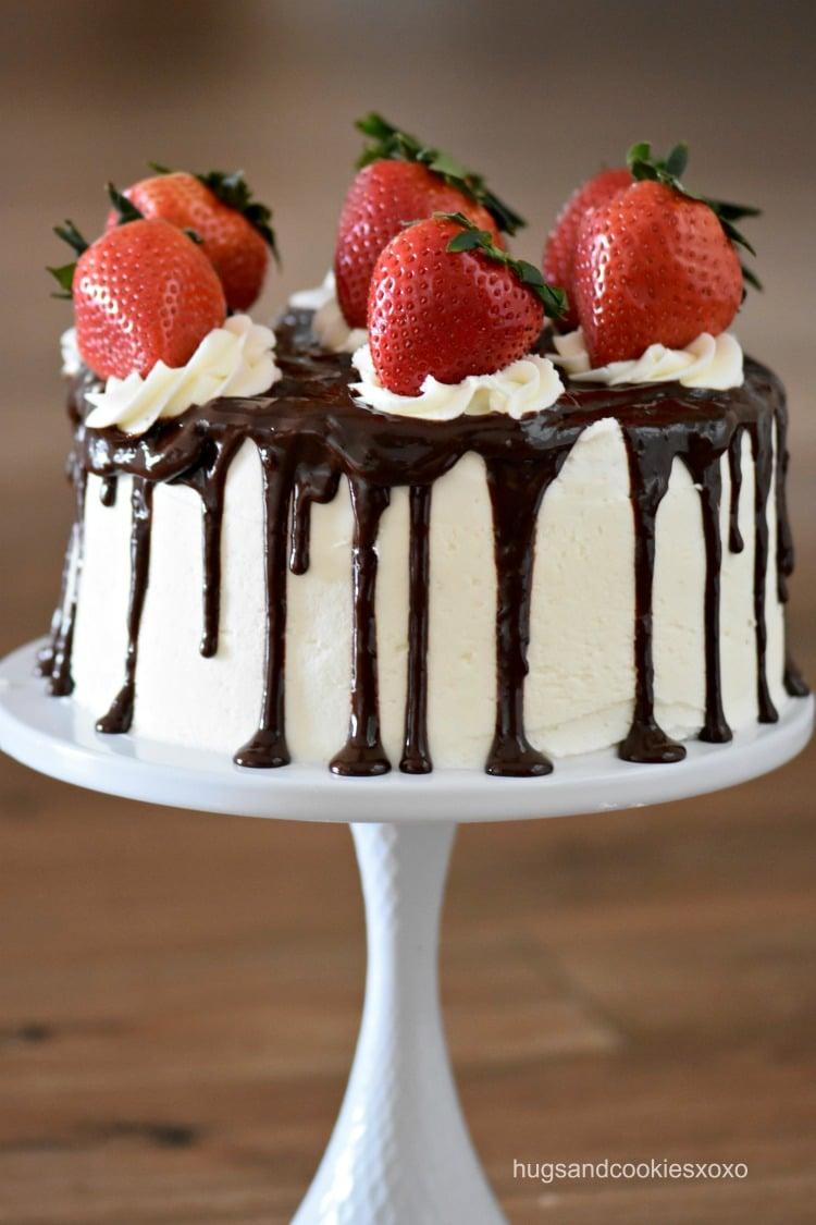 Strawberry Vanilla Drip Cake