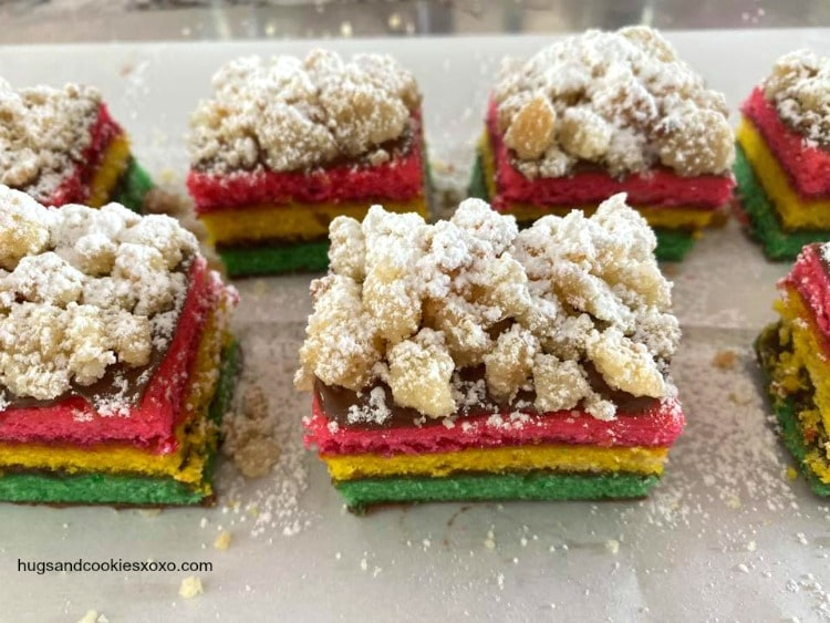Rainbow Cookie Crumb Cake Bars