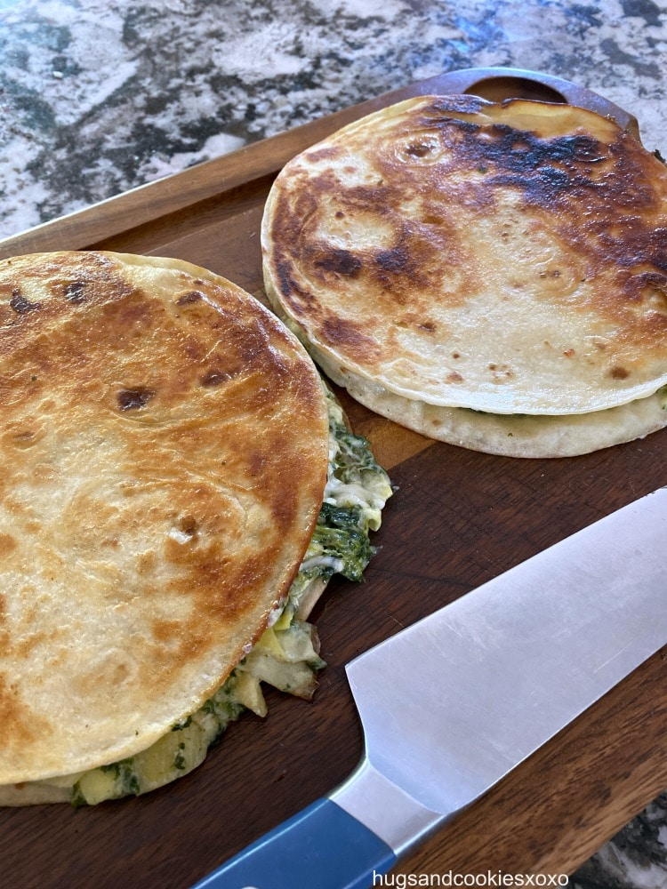 Spinach Artichoke Quesadillas pan fried in butter