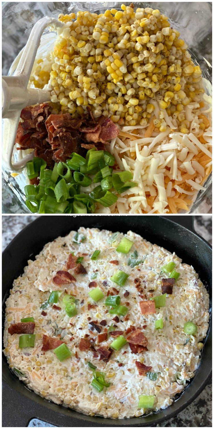 Bacon Corn Skillet Dip with scallions