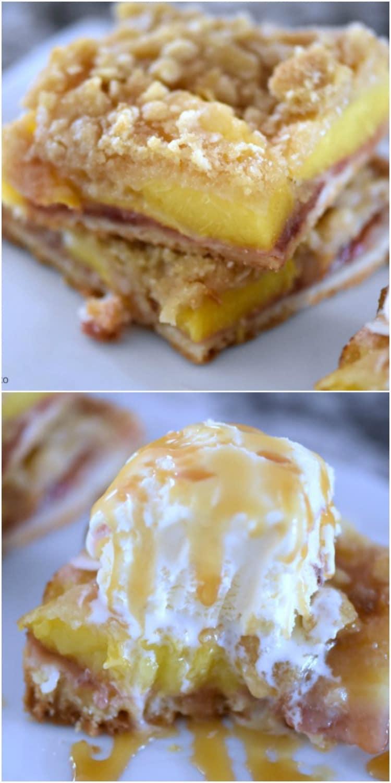 peach pie bars with ice cream