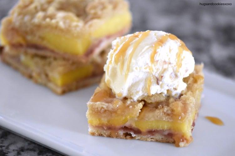 peach pie bars with caramel