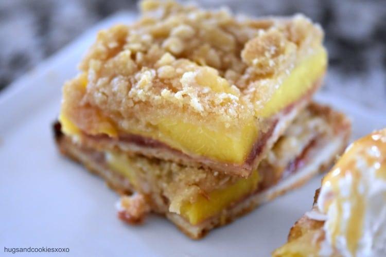 peach pie crumble bars