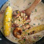 Roasted Corn Chowder with Rum Glazed Shrimp