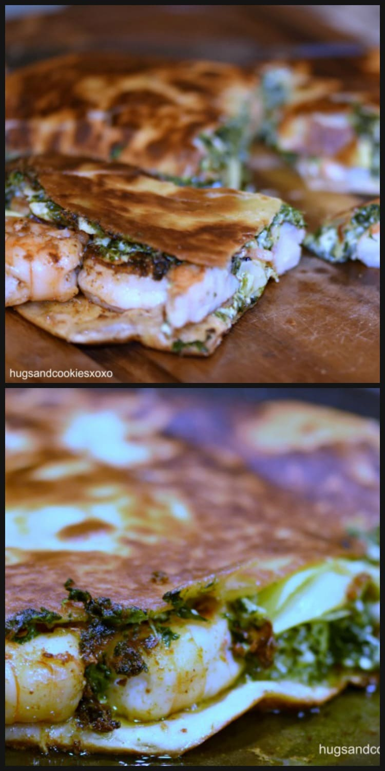 Spinach Artichoke Quesadillas with Chipotle Shrimp
