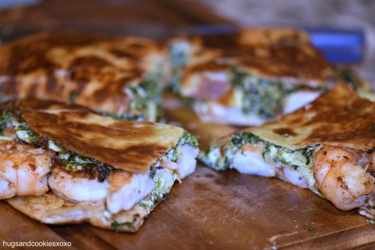 Spinach Artichoke Quesadillas with Chipotle Shrimp